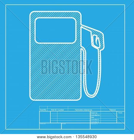 Gas pump sign. White section of icon on blueprint template.