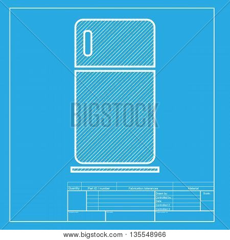 Refrigerator sign illustration. White section of icon on blueprint template.
