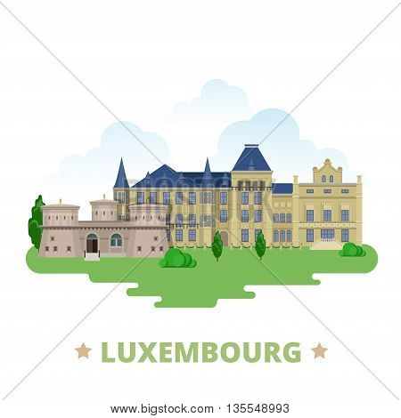 Luxembourg country design template Flat cartoon style web vector