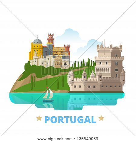Portugal country design template Flat cartoon style web vector