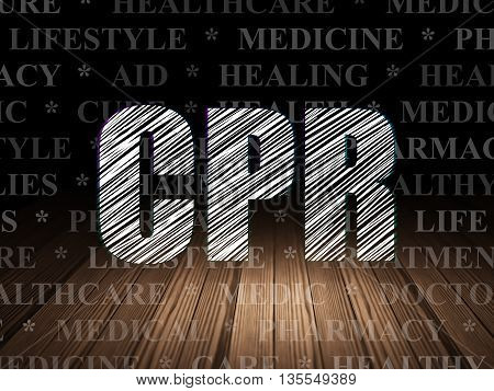 Health concept: Glowing text CPR in grunge dark room with Wooden Floor, black background with  Tag Cloud