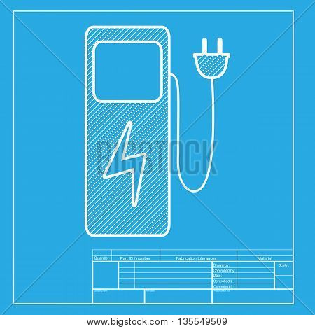 Electric car charging station sign. White section of icon on blueprint template.