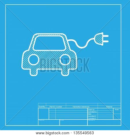 Eco electric car sign. White section of icon on blueprint template.