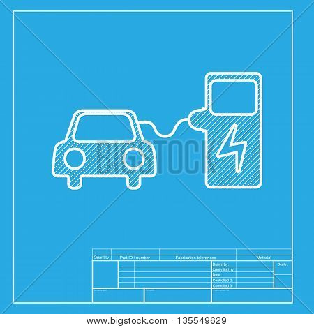 Electric car battery charging sign. White section of icon on blueprint template.