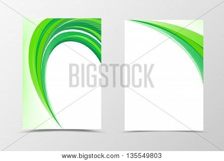 Green flyer template design. Abstract flyer template with lines. Wavy flyer design. Vector illustration