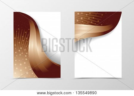 Flyer template design in brown color. Abstract flyer template with rays and stars. Wavy flyer design. Vector illustration