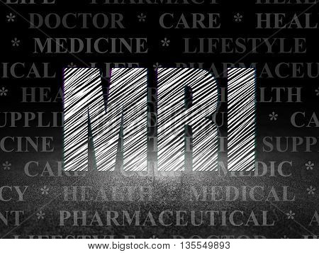 Healthcare concept: Glowing text MRI in grunge dark room with Dirty Floor, black background with  Tag Cloud