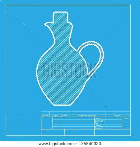 Amphora sign illustration. White section of icon on blueprint template.