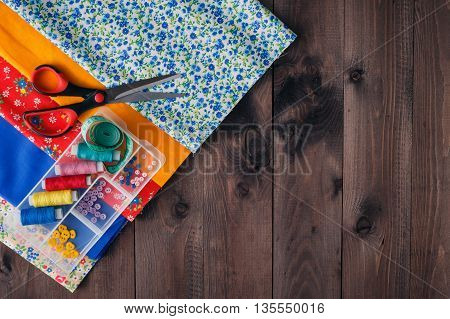 Scissors, Bobbins With Thread And Needles, Striped Fabric