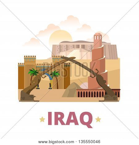 Iraq country design template Flat cartoon style web vector