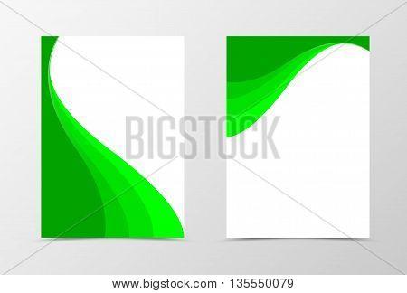 Flyer template spectrum design. Abstract flyer template in green color. Wavy flyer design. Vector illustration