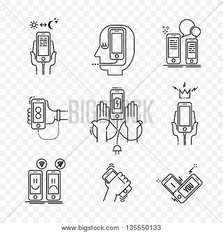 Life your smartphone. Modern thin line icons set of smartphone, modern technologies isolated on a transparent background. Outline symbol collection simple vector pictogram concept for web graphics.