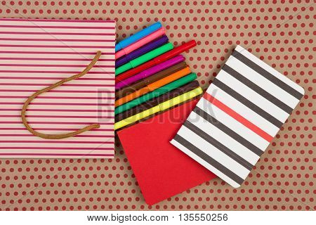 Striped Shopping Bag, Gift Bags, Desk Accessories, Colored Felt-tip Pens, Red And Striped Notepads O