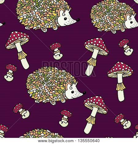 Seamless pattern with hedgehogs and mushrooms. Cute cartoon animal background. Boho striped. Vector