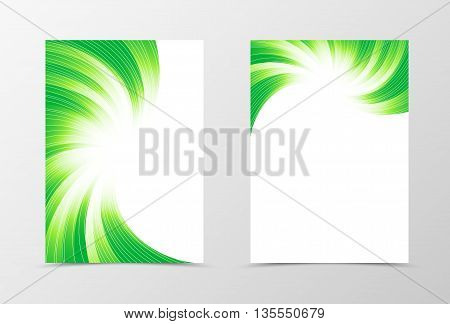 Flyer template swirl design. Abstract flyer template in green colors with silver lines. Bright wavy flyer design. Vector illustration