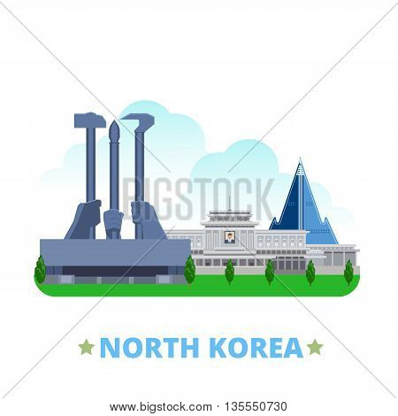 North Korea country design template Flat cartoon style vector