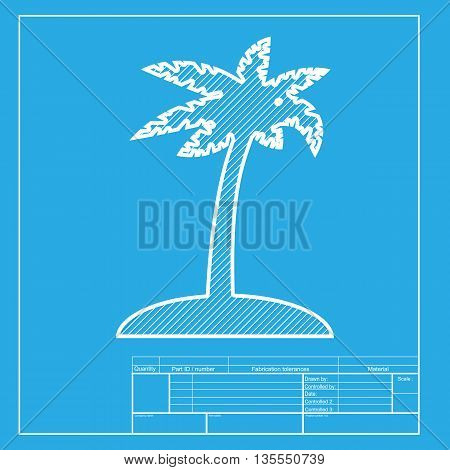 Coconut palm tree sign. White section of icon on blueprint template.