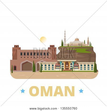 Oman country design template Flat cartoon style web vector