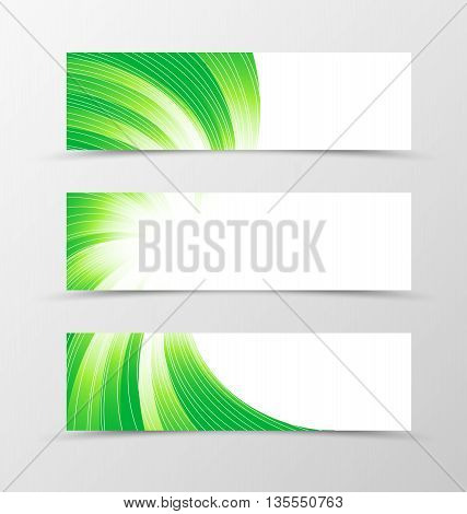 Set of banner swirl design. Light banner for header in green colors with silver lines. Design of banner in bright wavy style. Vector illustration