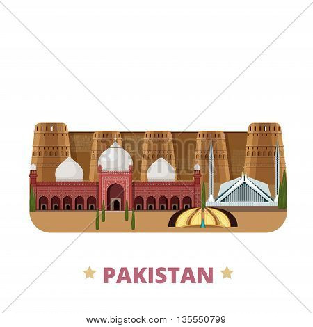 Pakistan country design template Flat cartoon style web vector