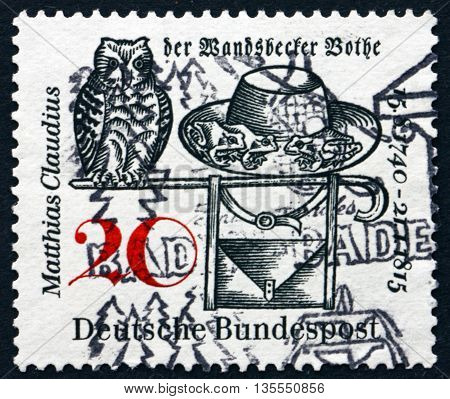 GERMANY - CIRCA 1965: a stamp printed in the Germany dedicated to Matthias Claudius Poet and Editor of the Wandsbecker Bothe circa 1965