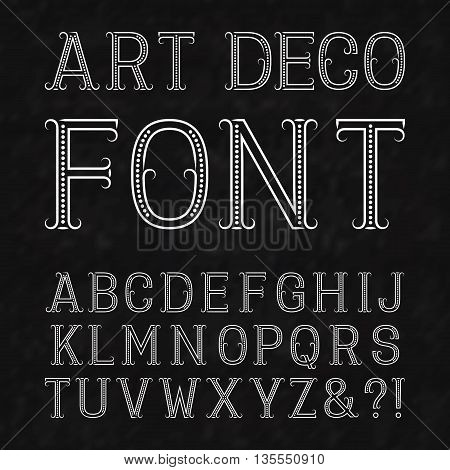 font in art deco style vintage latin alphabet white capital letters of dots and
