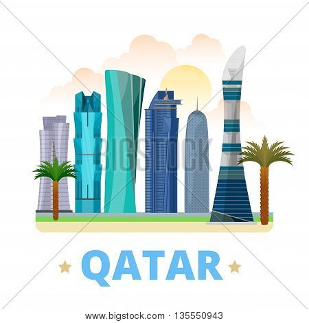 Qatar country design template Flat cartoon style web vector