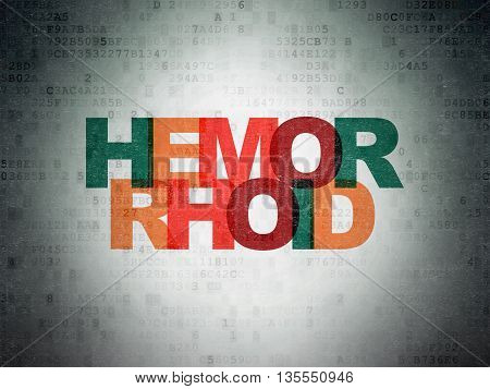 Medicine concept: Painted multicolor text Hemorrhoid on Digital Data Paper background