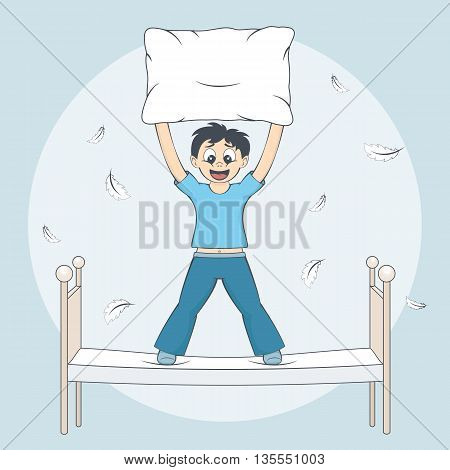 Boy in pyjamas starts pillow fight. Feathers fly around bed. Child with cushion in arms. Cartoon style vector illustration