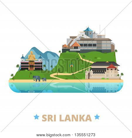 Sri Lanka country design template Flat cartoon style web vector