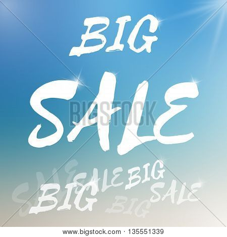 Vector big sale template. Big sale template on blurred colorful background. Template with piece of sun object. Sale text template with sparkles. Sale card template for various use.