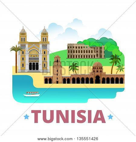 Tunisia country design template Flat cartoon style web vector