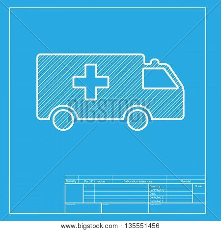 Ambulance sign illustration. White section of icon on blueprint template.