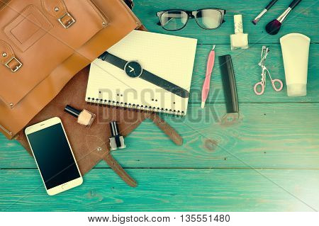 Travel Concept - Women Set With Bag, Phone, Notepad, Purse, Watch, Glasses