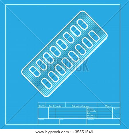 Medical Pills sign. White section of icon on blueprint template.
