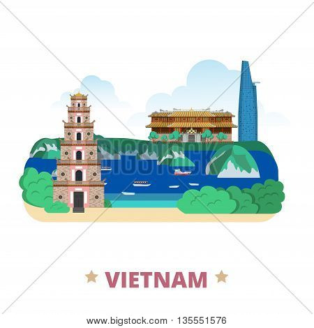 Vietnam country design template Flat cartoon style web vector