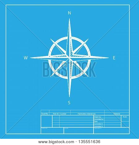 Wind rose sign. White section of icon on blueprint template.