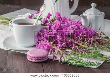 Summer Tea On Wooden Table With Macaroon