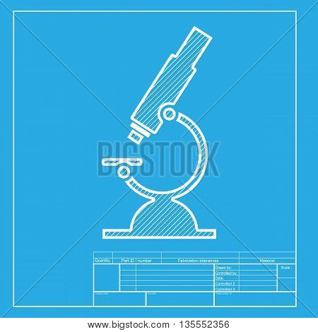 Chemistry microscope sign for laboratory. White section of icon on blueprint template.