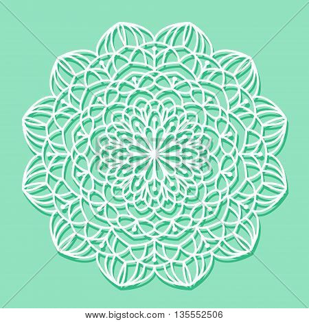 Beautiful mandala lace ornament on lovely green background for cards or invitations. Mandala round element. Vector illustration