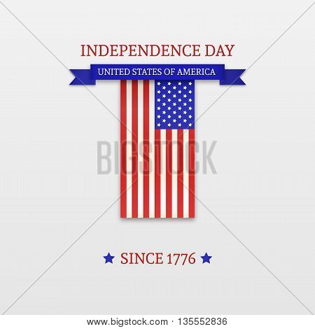 Fourth of July. Stylish American Independence Day design. Usable for 4th of July greeting cards, web sites, banners, print. Vector Template.