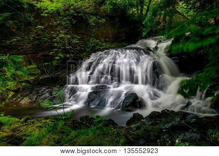 A gently cascading waterfall surrounded by verdant greens.