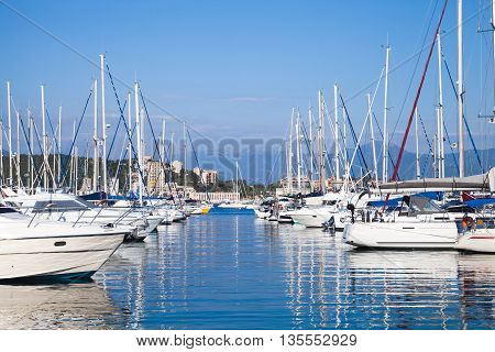 Yachts Moored In Marina Of Ajaccio