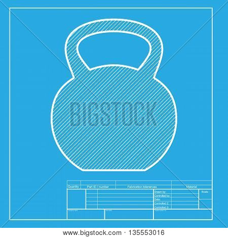 Fitness Dumbbell sign. White section of icon on blueprint template.