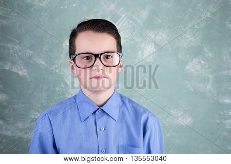 Portrait Of The Clever Schoolboy In Glasses On Green Background