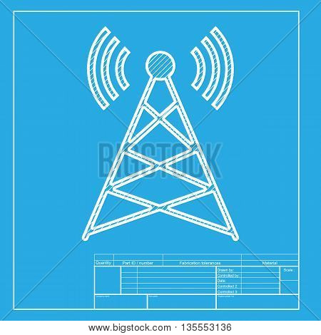 Antenna sign illustration. White section of icon on blueprint template.