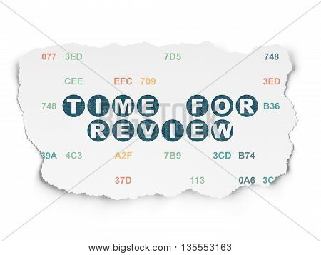 Time concept: Painted blue text Time for Review on Torn Paper background with  Hexadecimal Code