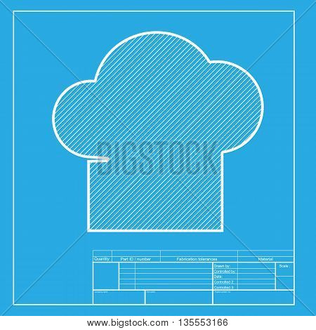 Chef cap sign. White section of icon on blueprint template.