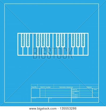 Piano Keyboard sign. White section of icon on blueprint template.