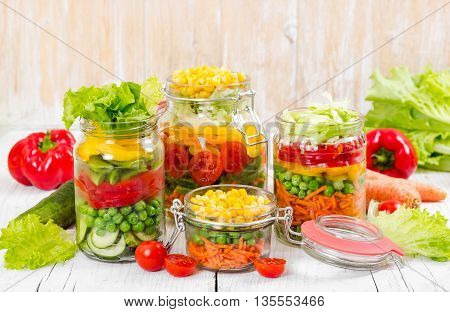 Prepared For Canning Colorful Vegetables In Glass Jars